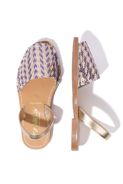 FUNDIDO - Navy & Gold Weave and Leather Menorcan sandals