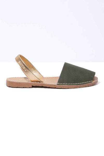 HIERBA ORO - Khaki & Gold Leather Menorcan sandals