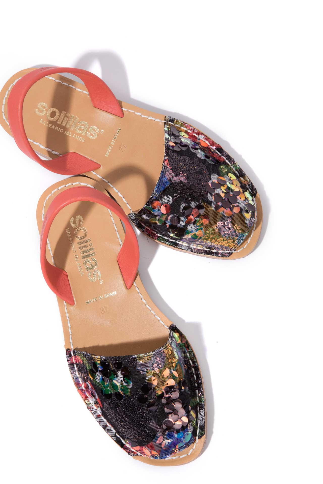 DANZA - Sequins & Red Leather Menorcan sandals