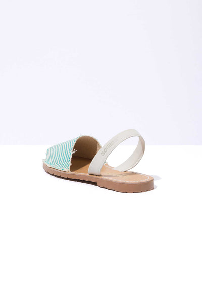 ZUMBIDO - Aqua & Off-White Canvas & Leather Menorcan sandals