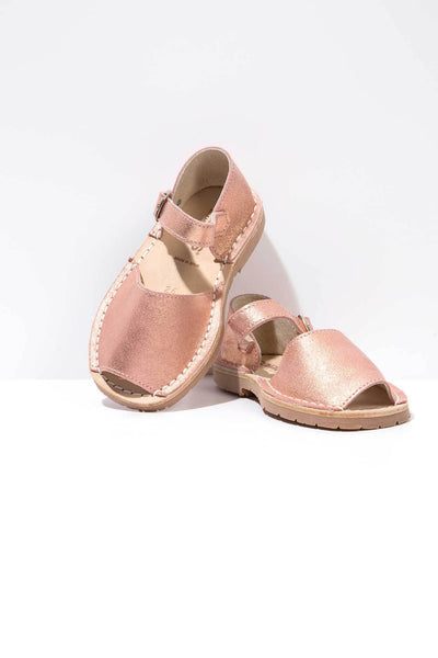 Rose Gold - Metallic Leather Buckled sandals