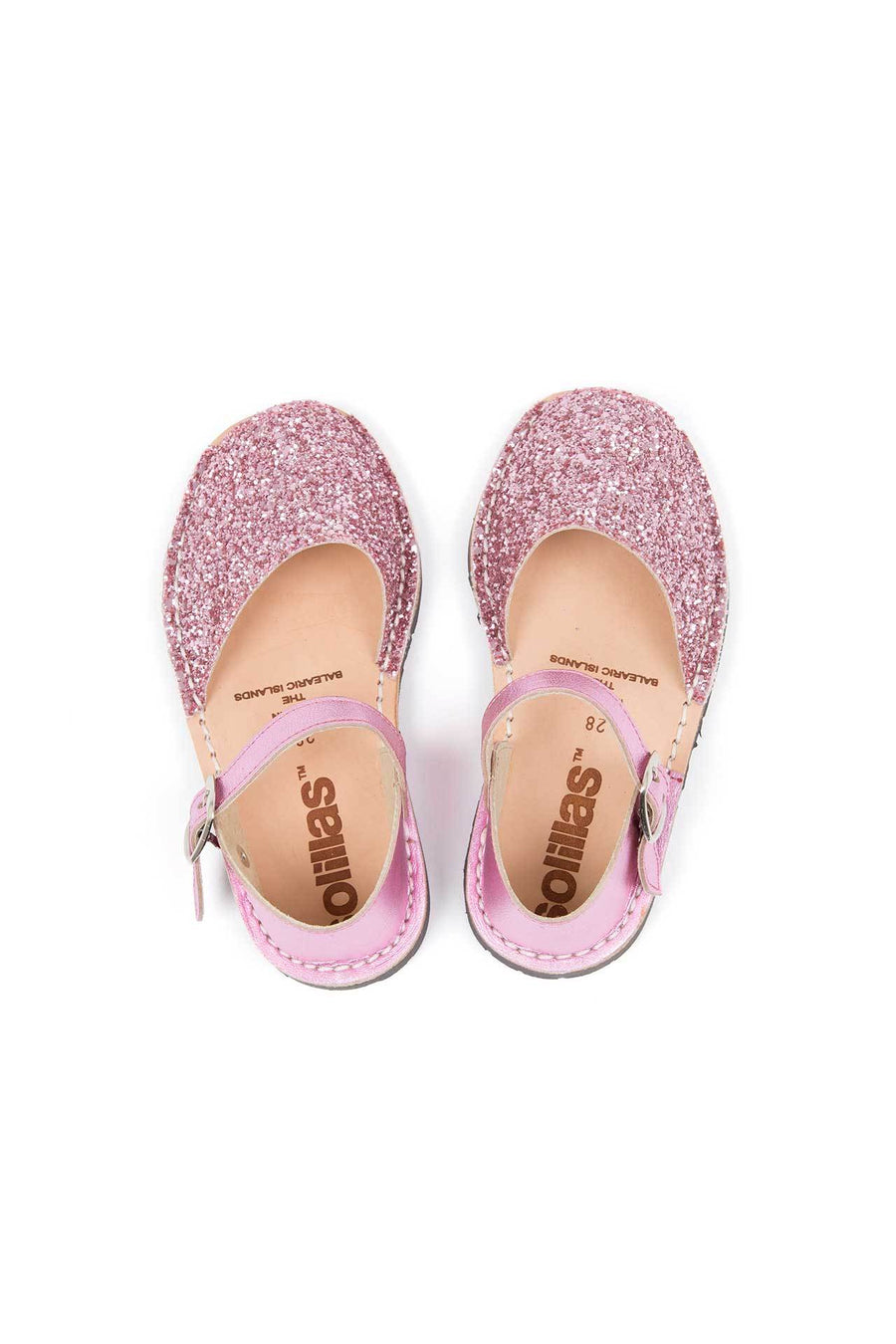 Pink Glitter - Leather Buckle sandals