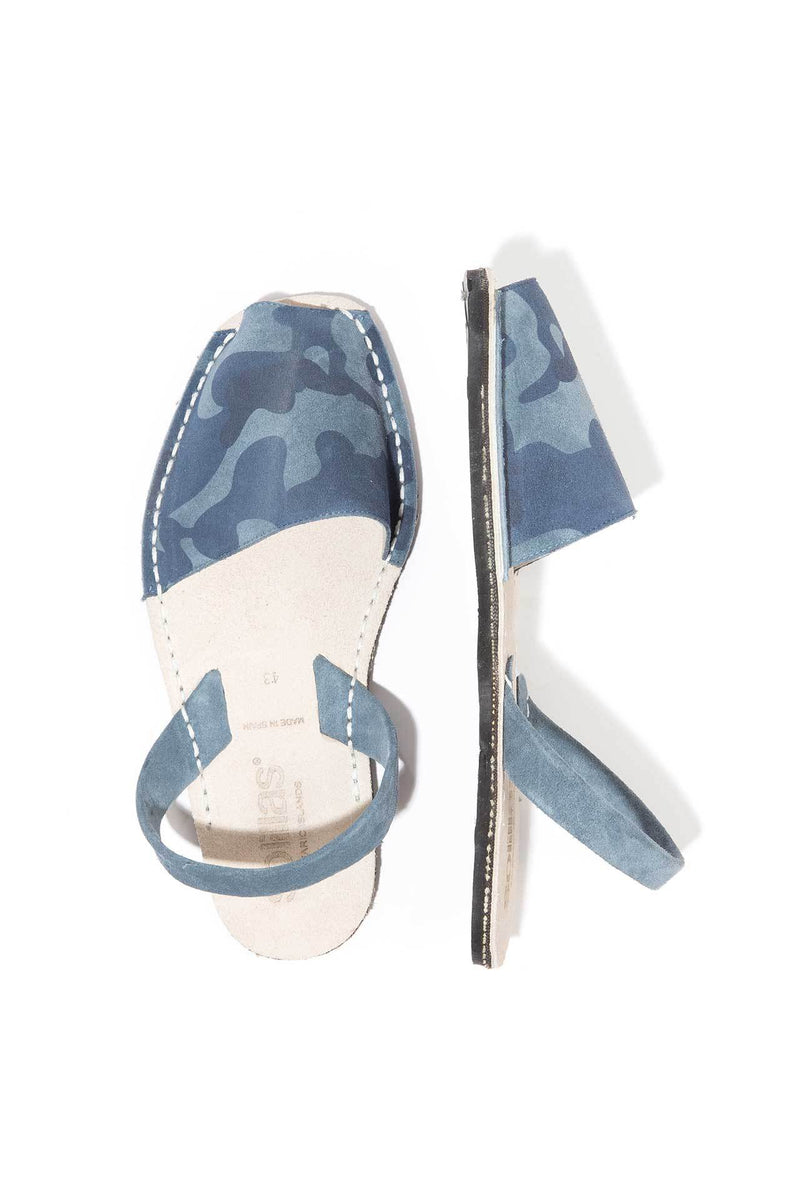Navy Camo - Camoflague Suede sandals - Women