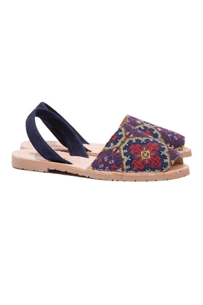 Navy blue embroidered Menorcan Sandals for Women, made in Spain by Solillas Australia, angled view
