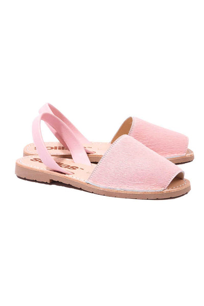 Pink fur Menorcan Sandals for Women, made in Spain by Solillas Australia, angled view