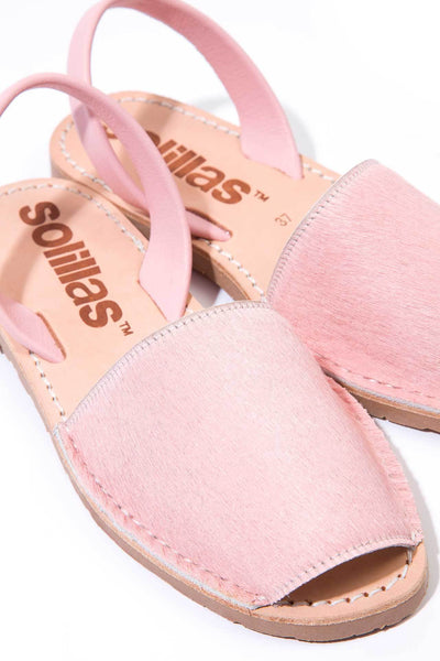 Pink fur Menorcan Sandals for Women, made in Spain by Solillas Australia, close up view