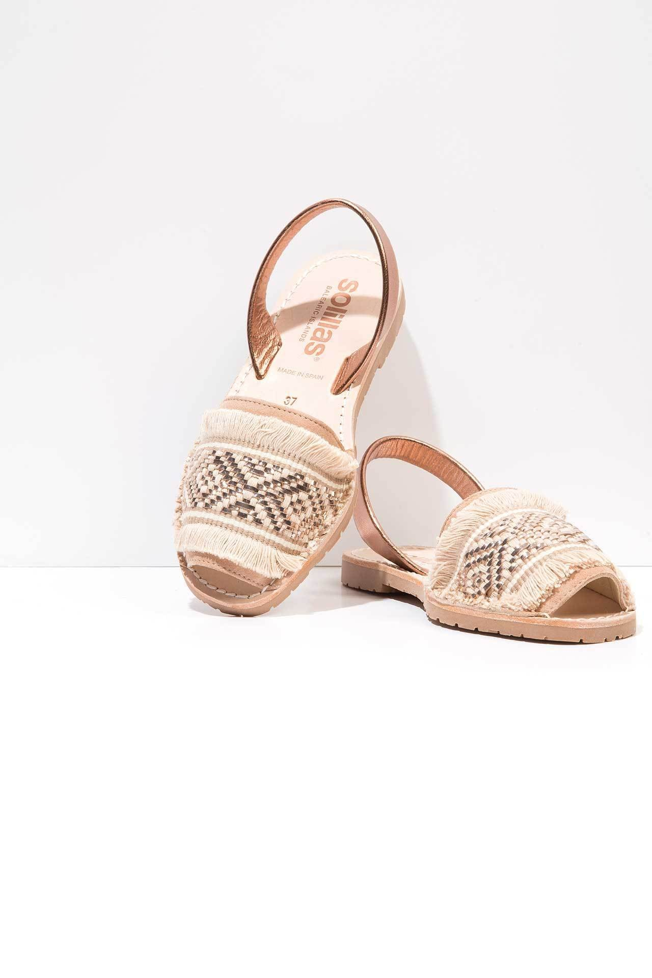 Rose Gold Leather Menorcan Sandals - Rose gold Solillas XcffLl6IOk