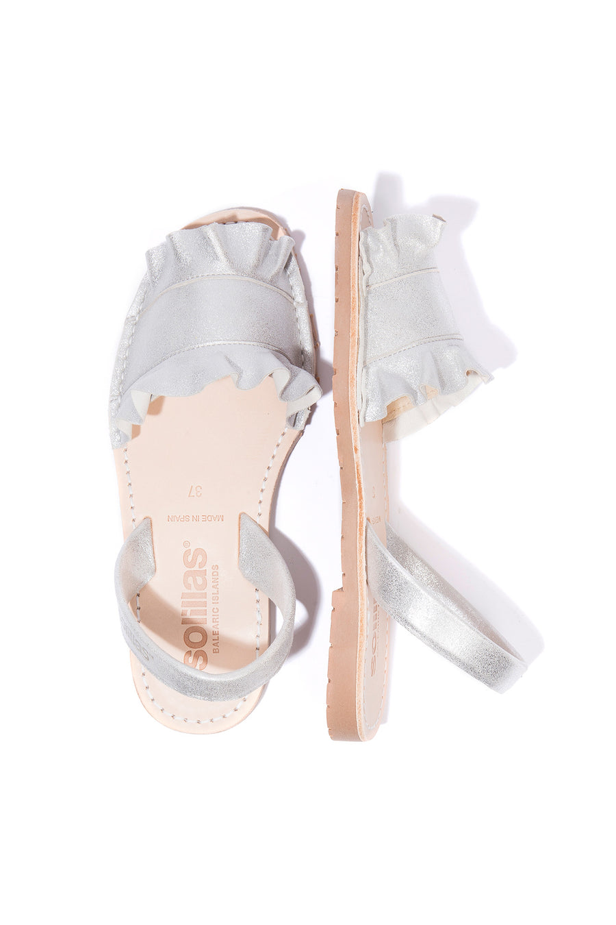 Talaia Silver - Frilled Leather Menorcan sandals