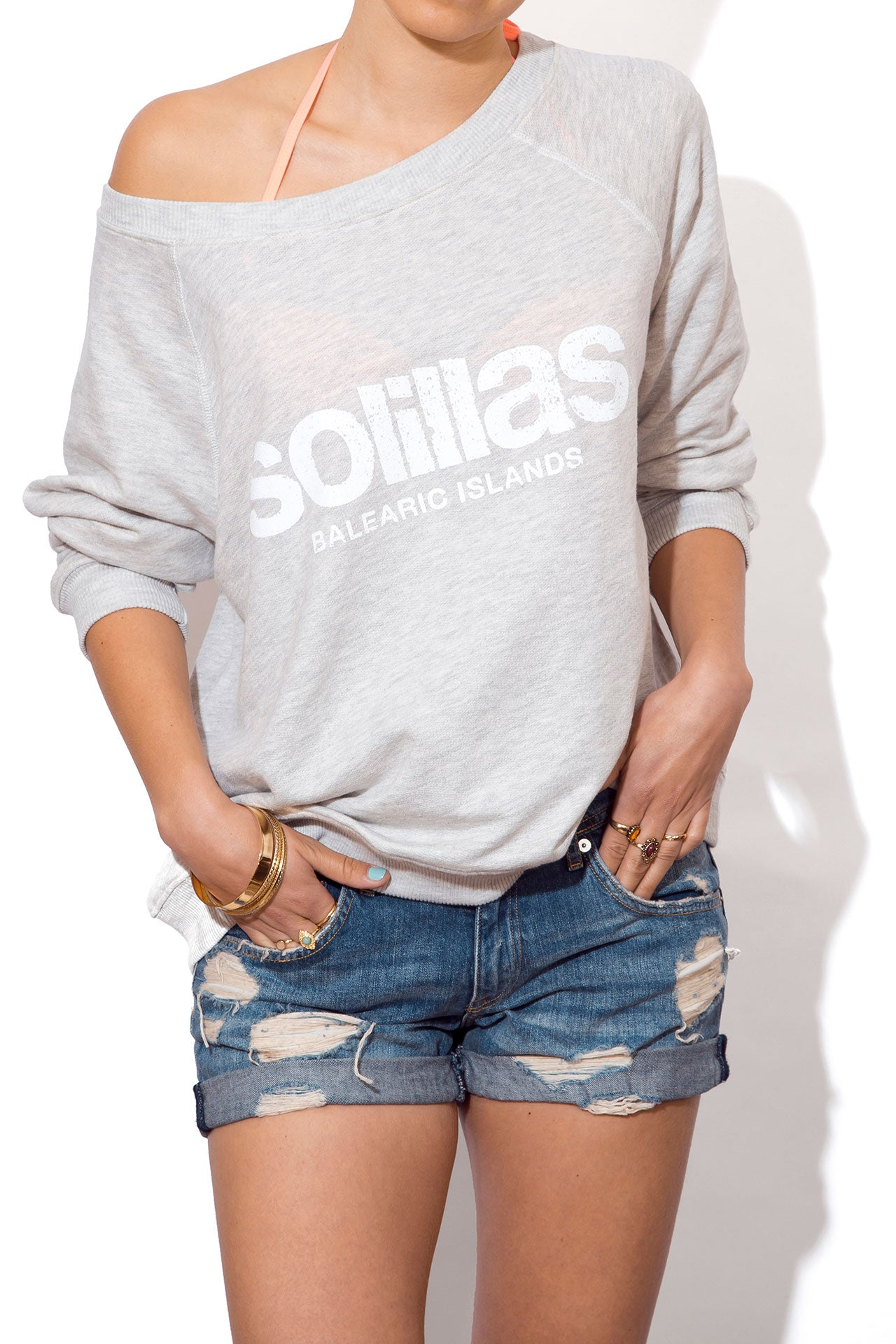 Women's Slouchy Beach Sweatshirt - Grey Logo