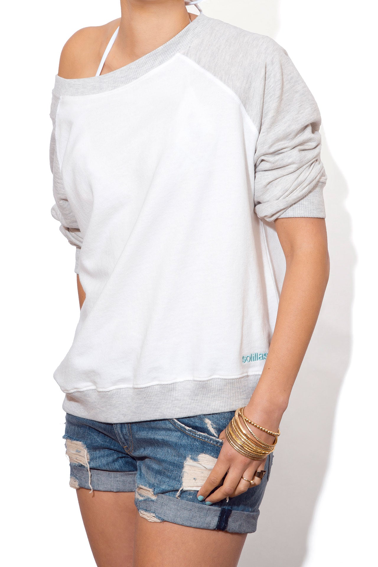 Women's Slouchy Sweatshirt - Two Tone