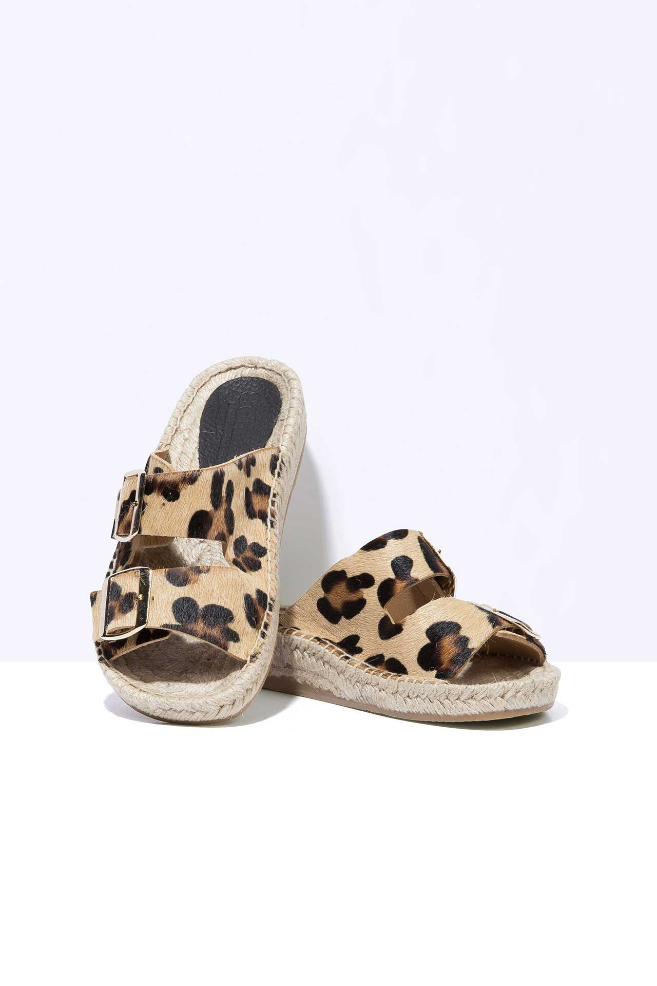 LEOPARD NEVA - Hair-On Leather Buckle Espadrille