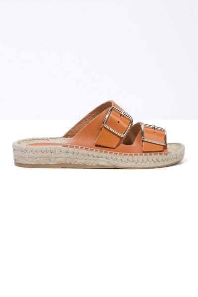 TERRA NEVA - Tan Leather Buckle Espadrille