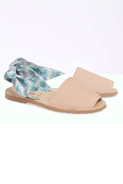 IBIZA ISABEL - Tropical Print Bow Detail Leather Menorcan sandals