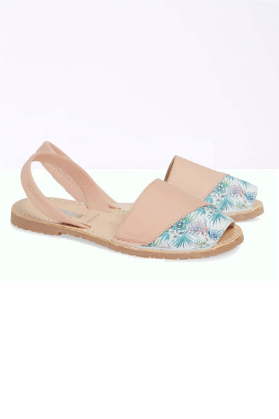 LARA - Tropical Detail Leather Menorcan sandals