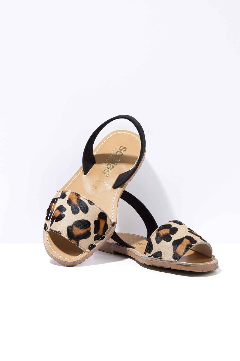 LEOPARDO FRESCA - Leopard Hair-On Leather Ballerina Menorcan sandals