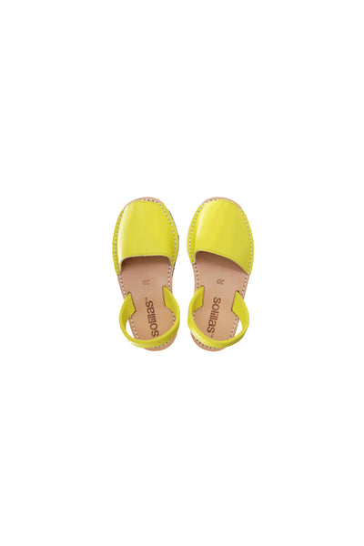 Limon - Yellow Leather Children's Menorcan Sandals