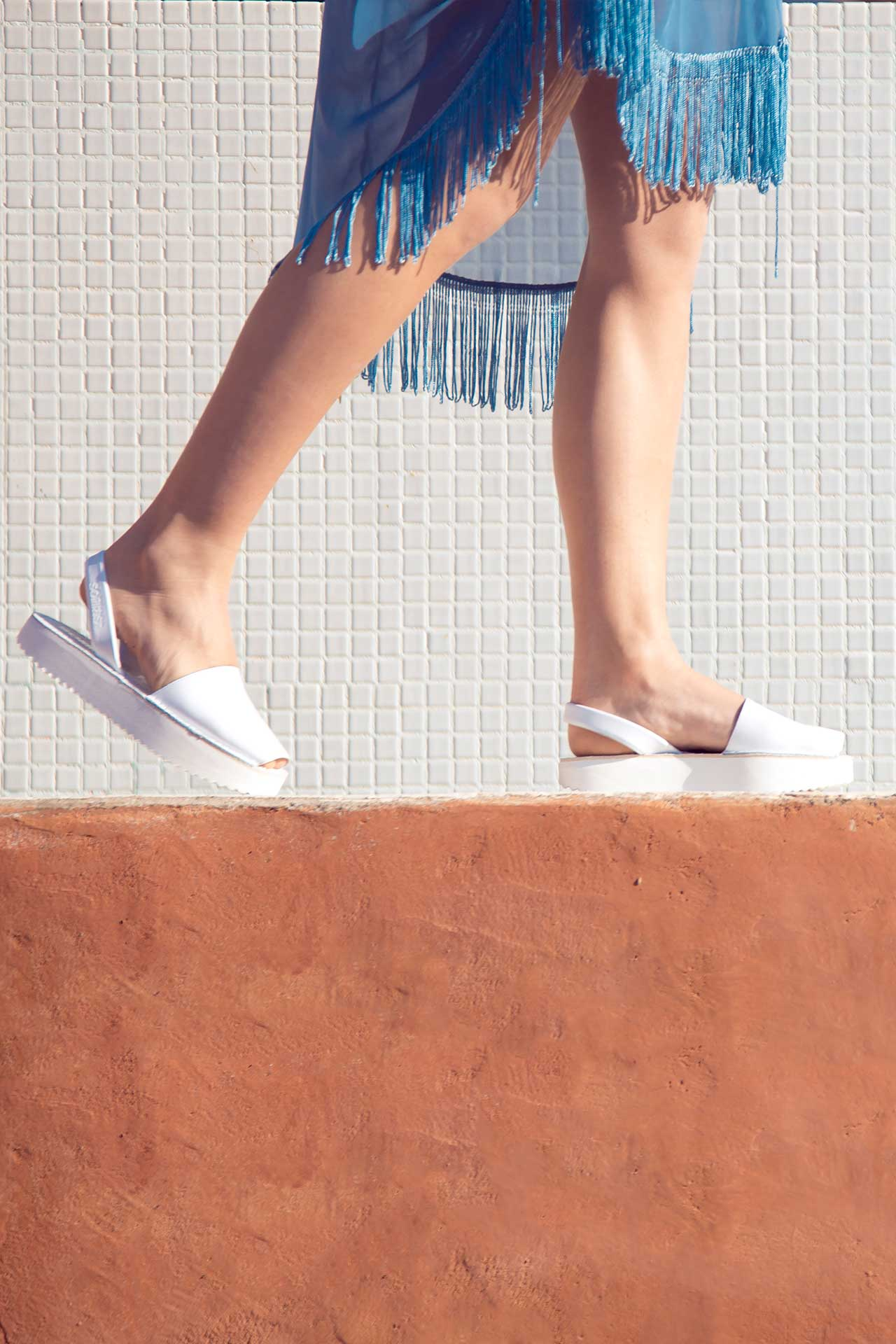 Blanco - Leather Flatform sandals