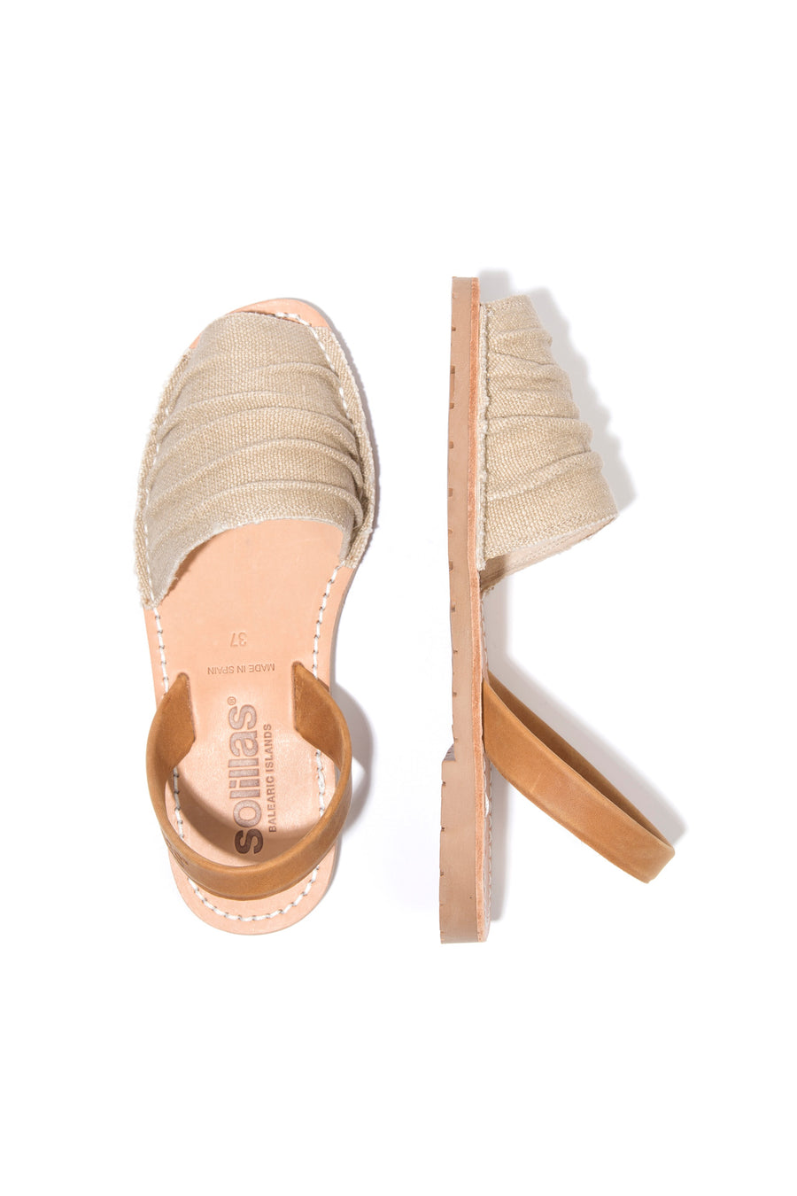 Alma - Ruffled Canvas Menorcan sandals