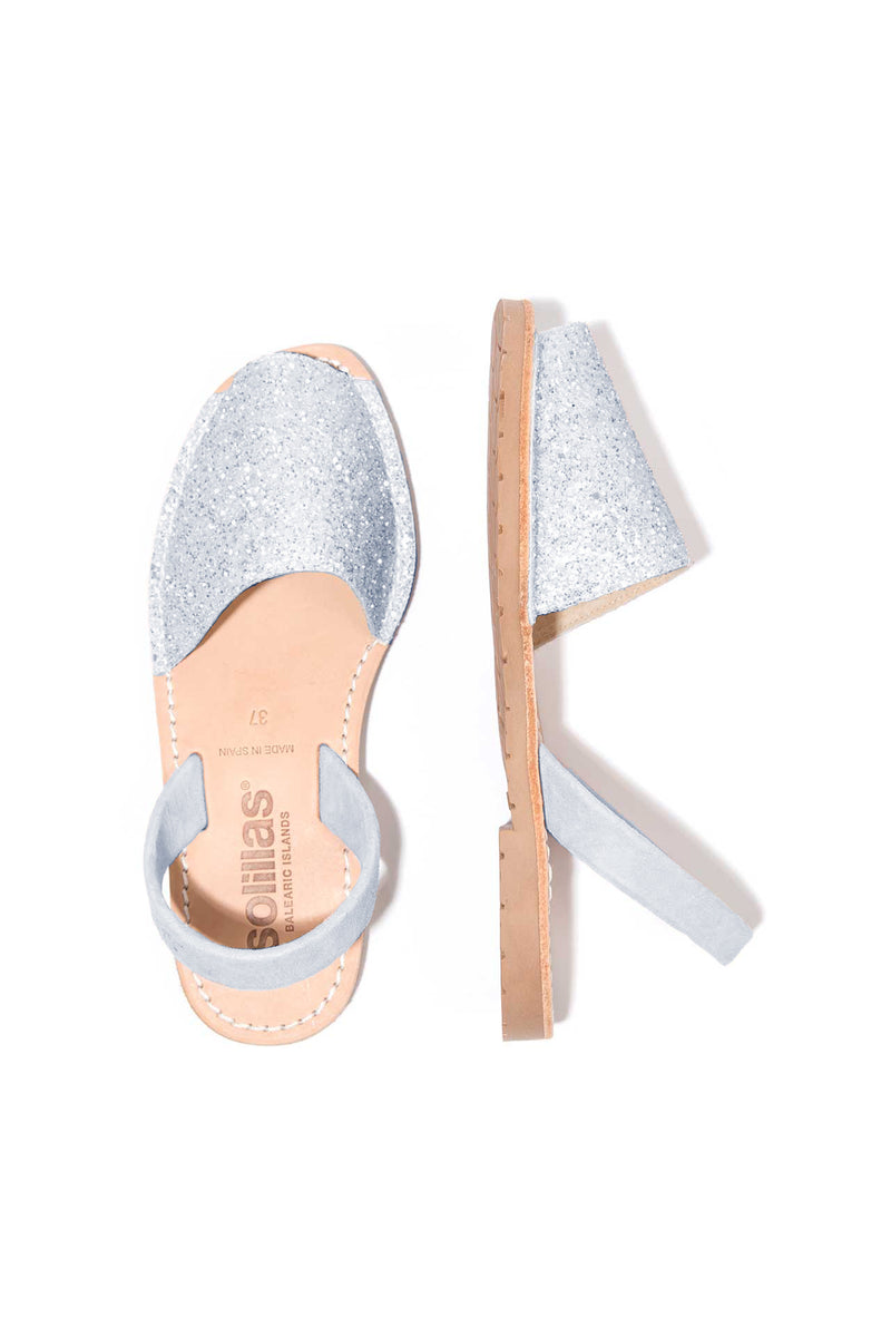PASTEL BLUE GLITTER - Blue Glitter Leather Menorcan sandals