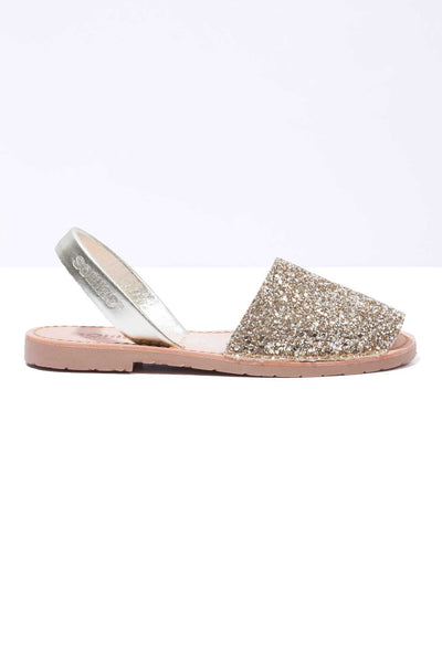 Gold Glitter - Metallic Leather Menorcan sandals