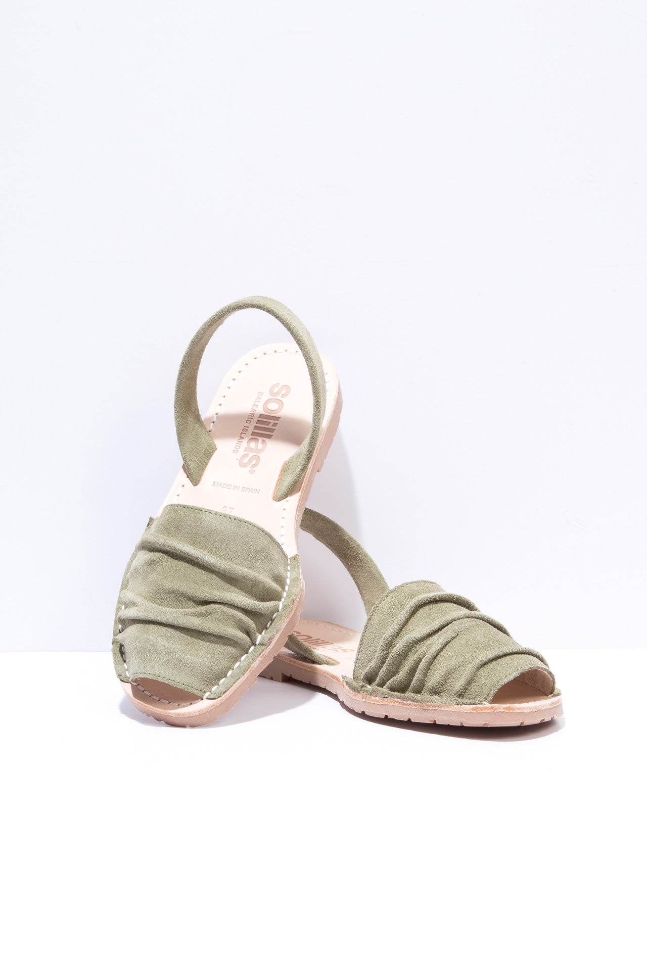 Laia - Ruffled Suede Menorcan sandals