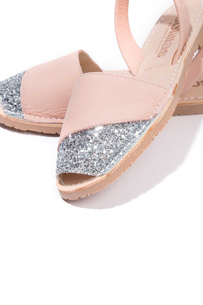 Lluna - Glitter Detail Leather Menorcan sandals
