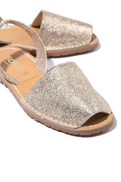 NOVA GOLD - Hammered Metallic Leather Menorcan sandals