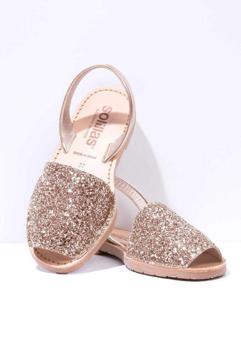 ROSE GOLD GLITTER - Metallic Glitter Leather Menorcan sandals