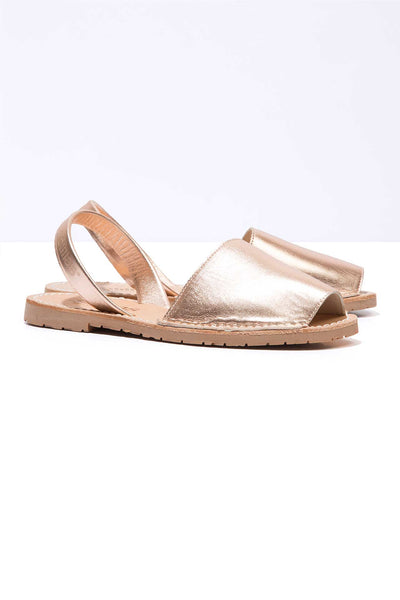 Rose Gold - Metallic Leather Menorcan sandals