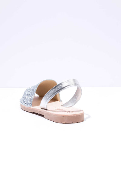 Silver Glitter - Metallic Leather Menorcan sandals