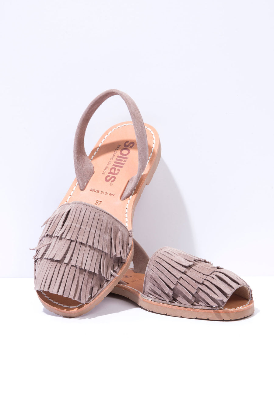 Franja - Fringe Detail Leather Menorcan sandals