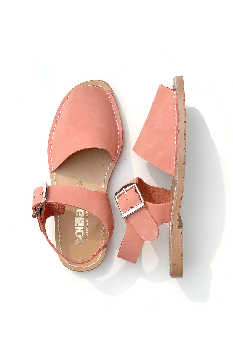 Coral Pesca - Coral Nubuck Leather Buckle Sandal