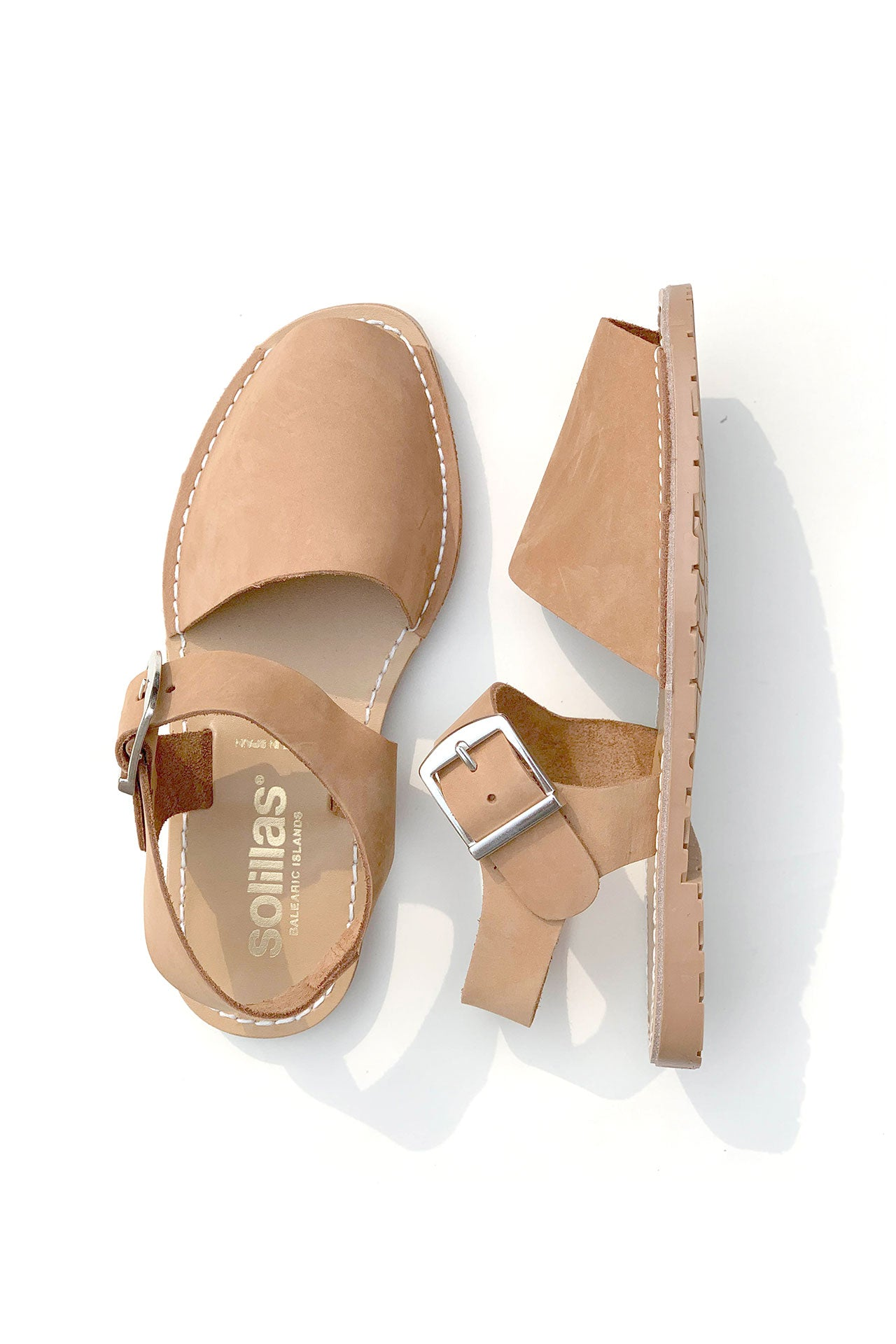 CUERO PESCA - Tan Nubuck Leather Buckle Sandal