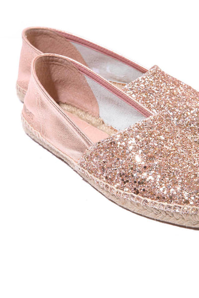 Peach Glitter - Glitter Leather Espadrilles