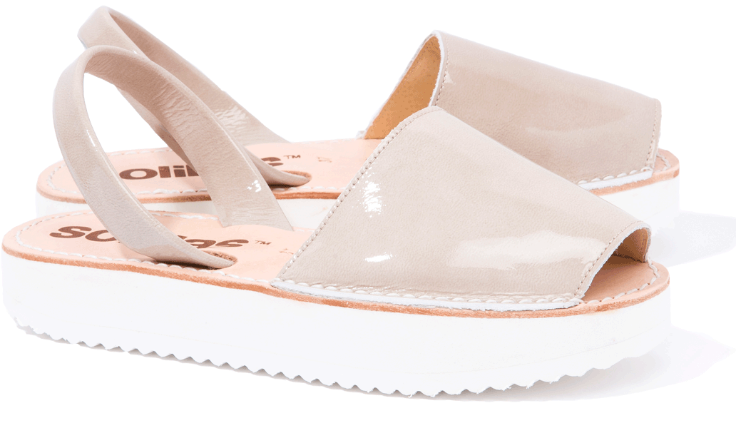 Perla - Patent Leather Flatform sandals