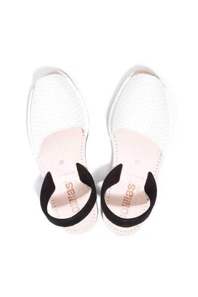 White snake and black leather Menorcan Sandals for Women, made in Spain by Solillas Australia, above view