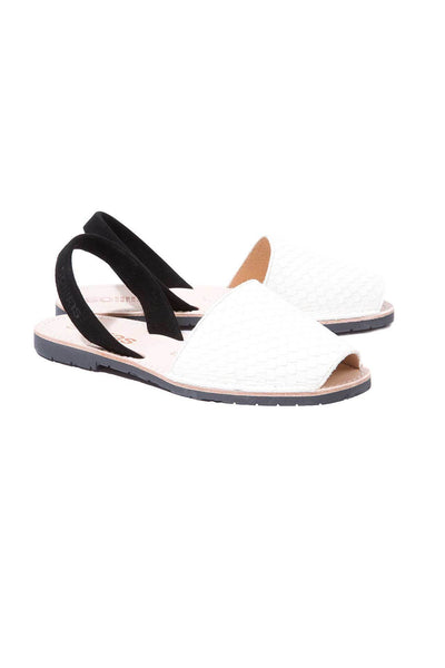 White snake and black leather Menorcan Sandals for Women, made in Spain by Solillas Australia, angled view