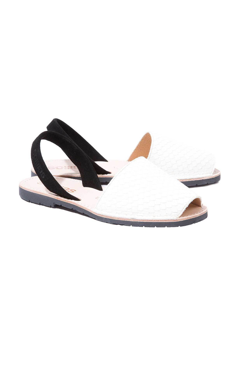 Raro Blanco - Snake Textured Menorcan sandals