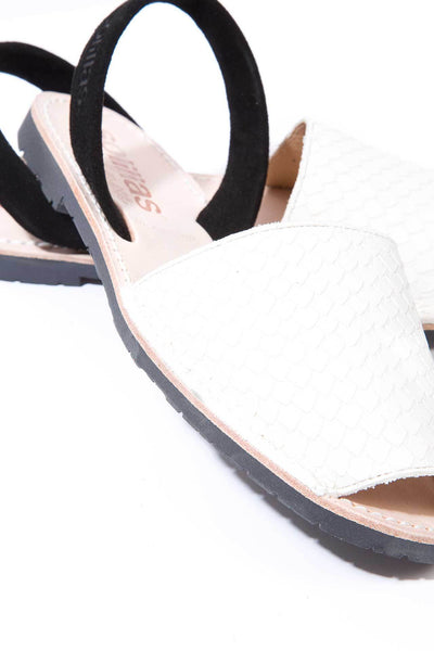 White snake and black leather Menorcan Sandals for Women, made in Spain by Solillas Australia, close up view