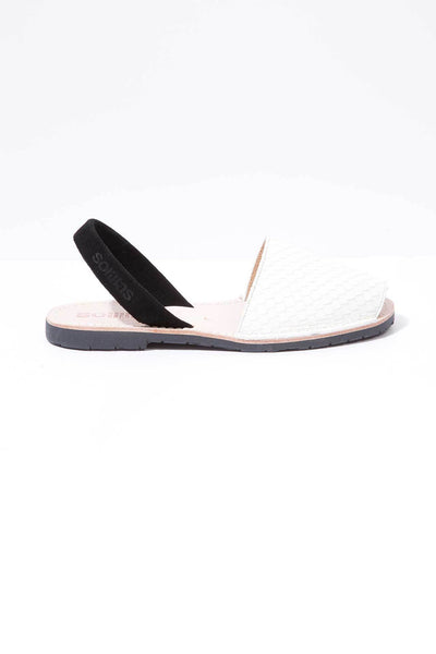 White snake and black leather Menorcan Sandals for Women, made in Spain by Solillas Australia, side view