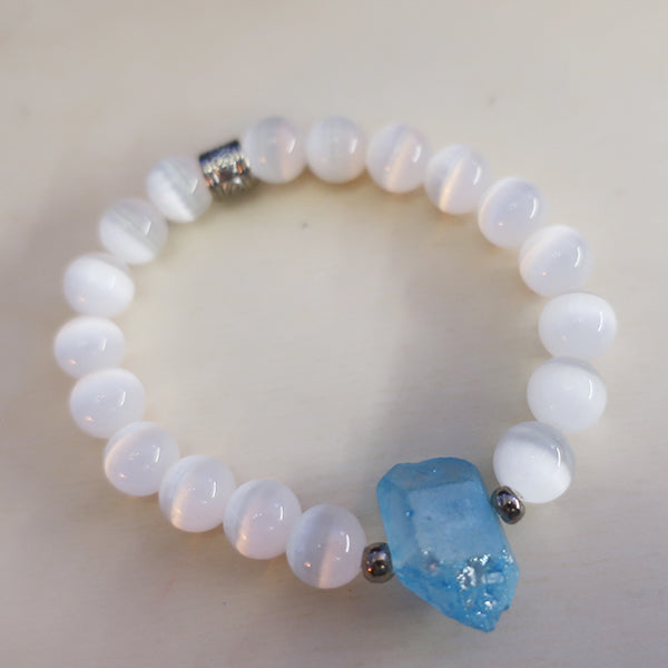 CATS EYE STONE + QUARTZ BRACELET