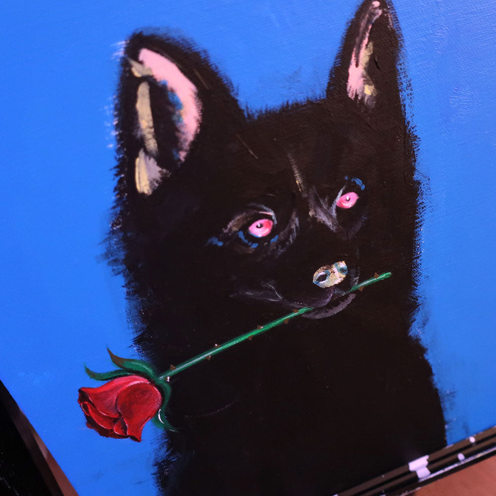 A DOG AND ROSE ARTWORK