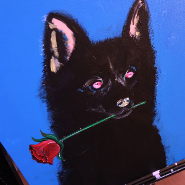 A DOG AND ROSE ORIGINAL PAINTING