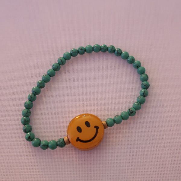 COATED WOOD SMILE + BLACK ONYX + TURQUOISE BRACELETS