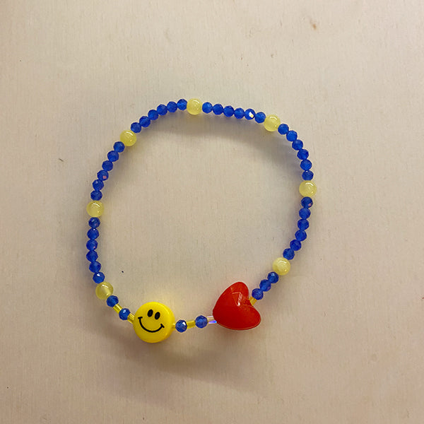 MULTI COLOR SMILE + HEART BRACELET