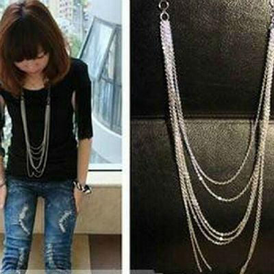 Women Multi-Layer Alloy Long Necklace