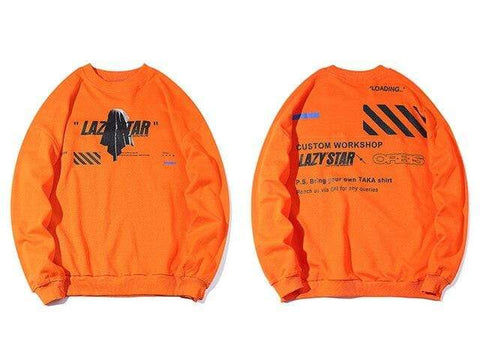 Special Hype LAZY STAR SWEATSHIRT Affordable Hype Clothing Brand Orange / L