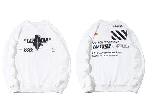 Special Hype LAZY STAR SWEATSHIRT Affordable Hype Clothing Brand White / L
