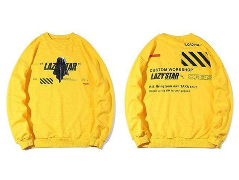Special Hype LAZY STAR SWEATSHIRT Affordable Hype Clothing Brand Yellow / S