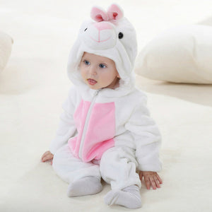 White Pink Rabbit Themed Baby Romper
